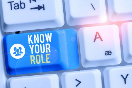 Writing note showing Know Your Role. Business concept for end acting outside who you actually are Play your position Keyboard with note paper on white background key copy space