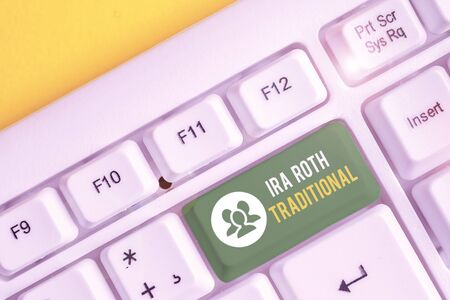 Word writing text Ira Roth Traditional. Business photo showcasing are tax deductible on both state and federal White pc keyboard with empty note paper above white background key copy space