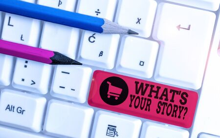 Writing note showing What S Is Your Storyquestion. Business concept for analysisner of asking demonstrating about past life events White pc keyboard with note paper above the white background Stock fotó