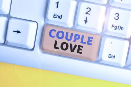 Word writing text Couple Love. Business photo showcasing two showing who love each other very much Feeling pleasure White pc keyboard with empty note paper above white background key copy space