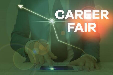 Word writing text Career Fair. Business photo showcasing an event at which job seekers can meet possible employers