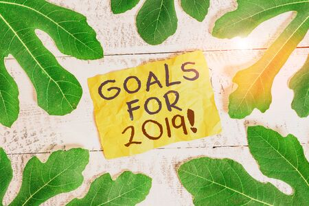 Text sign showing Goals For 2019. Business photo text object of demonstratings ambition or effort aim or desired result Leaves surrounding notepaper above a classic wooden table as the background
