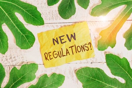 Text sign showing New Regulations Question. Business photo text rules made government order control way something is done Leaves surrounding notepaper above a classic wooden table as the background