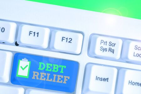 Handwriting text Debt Relief. Conceptual photo a reduction in the amount of debt that a country has to pay