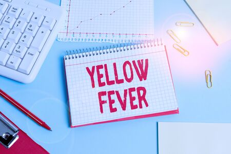 Handwriting text Yellow Fever. Conceptual photo tropical virus disease affecting the liver and kidneys Paper blue desk computer keyboard office study notebook chart numbers memo Reklamní fotografie