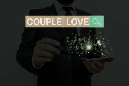 Handwriting text writing Couple Love. Conceptual photo two showing who love each other very much Feeling pleasure