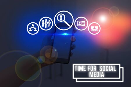 Text sign showing Time For Social Media. Business photo showcasing meeting new friends discussing topics news and movies Stock fotó