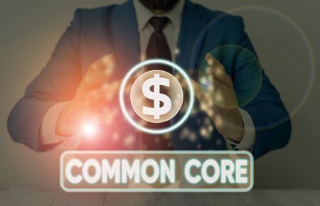 Word writing text Common Core. Business photo showcasing set of academic standards in mathematics and English language Stock fotó - 133473577