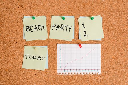 Conceptual hand writing showing Beach Party. Concept meaning large group of showing are organizing an event at the beach Corkboard size paper thumbtack sheet billboard notice board Stock fotó