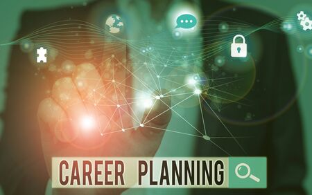 Word writing text Career Planning. Business photo showcasing Strategically plan your career goals and work success Picture photo system network scheme modern technology smart device Stock fotó