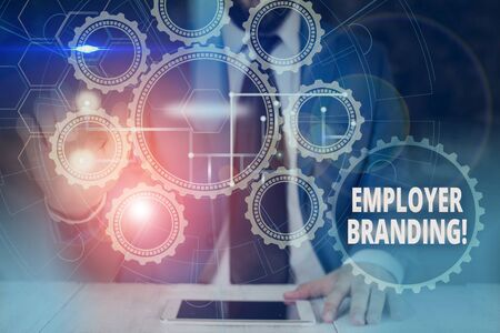 Handwriting text Employer Branding. Conceptual photo promoting company employer choice to desired target group Picture photo system network scheme modern technology smart device