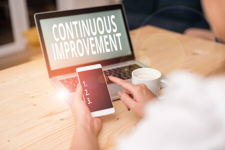 Text sign showing Continuous Improvement. Business photo text ongoing effort to improve products or processes woman laptop computer smartphone mug office supplies technological devices