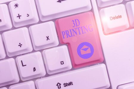 Word writing text 3D Printing. Business photo showcasing making a physical object from a threedimensional digital model White pc keyboard with empty note paper above white background key copy space