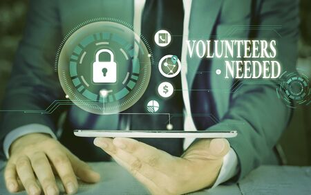 Writing note showing Volunteers Needed. Business concept for need work or help for organization without being paid Picture photo network scheme with modern smart device Stockfoto