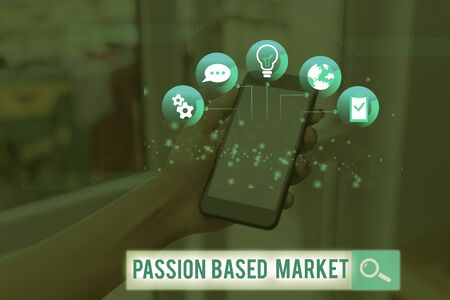 Word writing text Passion Based Market. Business photo showcasing Emotional Sales Channel a Personalize centric Strategy Archivio Fotografico