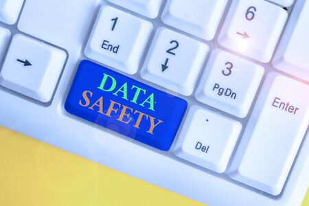 Conceptual hand writing showing Data Safety. Concept meaning concerns protecting data against loss by ensuring safe storage White pc keyboard with note paper above the white background Stock Photo - 133739865