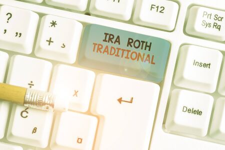 Writing note showing Ira Roth Traditional. Business concept for are tax deductible on both state and federal White pc keyboard with note paper above the white background Stock Photo