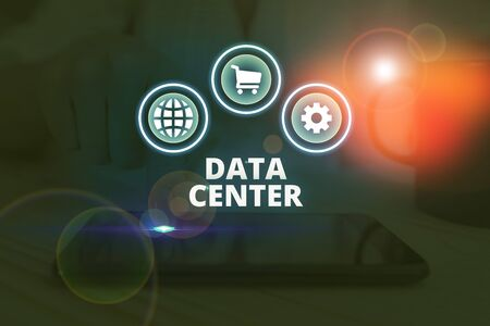 Word writing text Data Center. Business photo showcasing a repository that houses computing facilities like servers