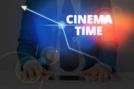 Writing note showing Cinema Time. Business concept for which entertainment such showing movie scheduled to start