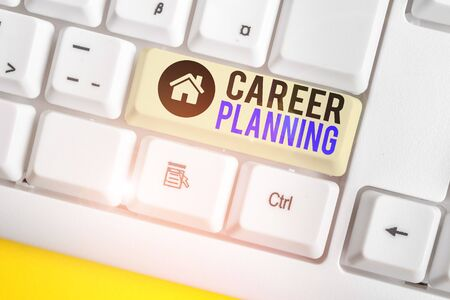 Handwriting text writing Career Planning. Conceptual photo Strategically plan your career goals and work success White pc keyboard with empty note paper above white background key copy space