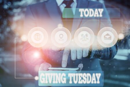 Text sign showing Giving Tuesday. Business photo showcasing international day of charitable giving Hashtag activism Picture photo system network scheme modern technology smart device