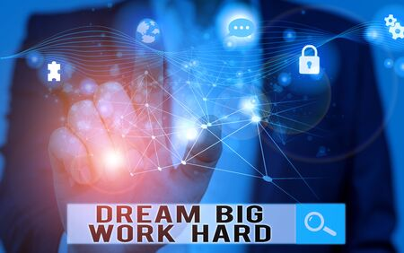 Word writing text Dream Big Work Hard. Business photo showcasing Believe in yourself and follow the dreams and goals Picture photo system network scheme modern technology smart device Stok Fotoğraf