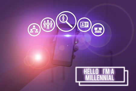 Text sign showing Hello I M A Millennial. Business photo showcasing demonstrating reaching young adulthood in current century Stock fotó