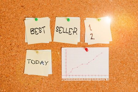 Conceptual hand writing showing Best Seller. Concept meaning new book or other product that has sold a great number of copies Corkboard size paper thumbtack sheet billboard notice board