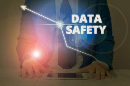 Writing note showing Data Safety. Business concept for concerns protecting data against loss by ensuring safe storage Stock fotó - 133476525