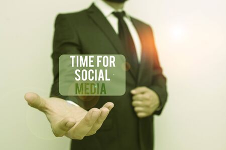 Handwriting text Time For Social Media. Conceptual photo meeting new friends discussing topics news and movies Male human with beard wear formal working suit clothes raising one hand up