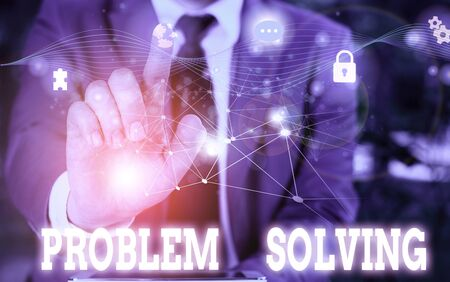 Writing note showing Problem Solving. Business concept for process of finding solutions to difficult or complex issues Picture photo network scheme with modern smart device