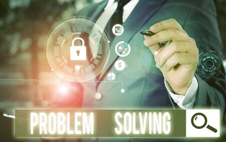 Conceptual hand writing showing Problem Solving. Concept meaning process of finding solutions to difficult or complex issues Picture photo network scheme with modern smart device