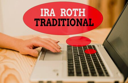 Handwriting text Ira Roth Traditional. Conceptual photo are tax deductible on both state and federal Stock Photo