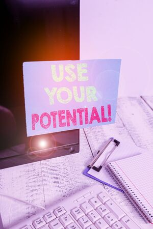 Word writing text Use Your Potential. Business photo showcasing achieve as much natural ability makes possible Note paper taped to black computer screen near keyboard and stationary Фото со стока