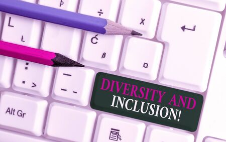 Text sign showing Diversity And Inclusion. Business photo showcasing range huanalysis difference includes race ethnicity gender White pc keyboard with empty note paper above white background key copy space