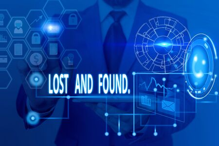 Writing note showing Lost And Found. Business concept for a place where lost items are stored until they reclaimed Picture photo network scheme with modern smart device