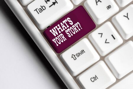 Text sign showing What S Is Your Storyquestion. Business photo showcasing analysisner of asking demonstrating about past life events White pc keyboard with empty note paper above white background key copy space