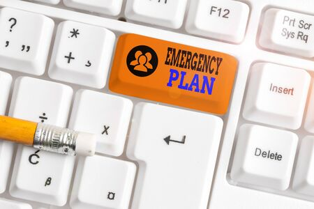 Text sign showing Emergency Plan. Business photo showcasing procedures for handling sudden or unexpected situations White pc keyboard with empty note paper above white background key copy space
