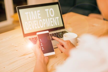 Text sign showing Time To Development. Business photo text a length of time during which a company grows or develop woman laptop computer smartphone mug office supplies technological devices