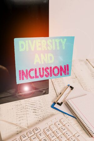 Word writing text Diversity And Inclusion. Business photo showcasing range huanalysis difference includes race ethnicity gender Note paper taped to black computer screen near keyboard and stationary