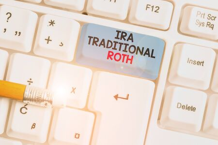 Writing note showing Ira Traditional Roth. Business concept for are tax deductible on both state and federal White pc keyboard with note paper above the white background
