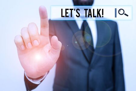 Text sign showing Let S Is Talk. Business photo showcasing suggesting in the beginning of a conversation on the topic Male human with beard wear formal working suit clothes raising one hand up