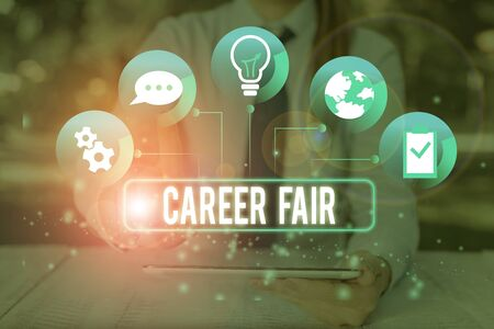 Text sign showing Career Fair. Business photo showcasing an event at which job seekers can meet possible employers
