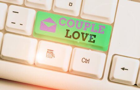 Handwriting text Couple Love. Conceptual photo two showing who love each other very much Feeling pleasure White pc keyboard with empty note paper above white background key copy space