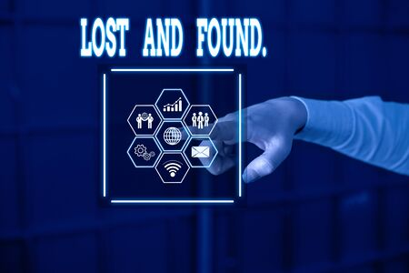 Handwriting text Lost And Found. Conceptual photo a place where lost items are stored until they reclaimed Picture photo system network scheme modern technology smart device
