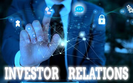 Writing note showing Investor Relations. Business concept for analysisagement responsibility that integrates finance Picture photo network scheme with modern smart device Stock fotó