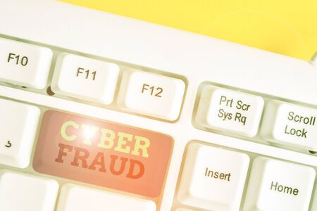 Word writing text Cyber Fraud. Business photo showcasing any crime that is committed with the use of a computer White pc keyboard with empty note paper above white background key copy space 版權商用圖片