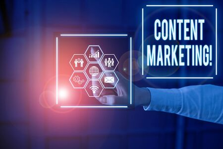 Conceptual hand writing showing Content Marketing. Concept meaning involves creation and sharing of online material Picture photo network scheme with modern smart device