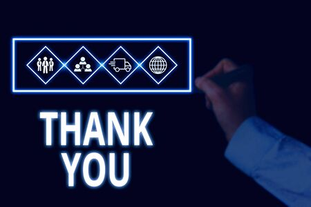 Conceptual hand writing showing Thank You. Concept meaning a polite expression used when acknowledging a gift or service Picture photo network scheme with modern smart device