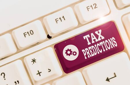 Handwriting text Tax Refund. Conceptual photo refund on tax when the tax liability is less than the tax paid White pc keyboard with empty note paper above white background key copy space